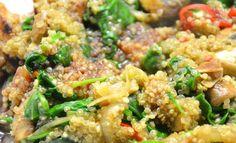 Quinoa Pilze Spinat Pfanne