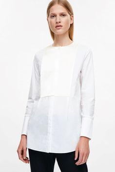 COS image 2 of Shirt with silk bib in White