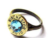 Bullet Ring winchester 45 Auto sterling silver gear by lizzybleu