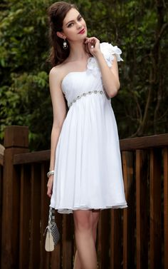 One Shoulder Empire Knee Length Prom Dress (White)    Silhouette: A-Line  Sleeve Length: Sleeveless  Embellishment: Ruched, Beaded, Rhinestones  Closure: Zipper  Fabric: Diamonte Changeable Silk, Lining  Built-In Bra: Yes  Waist: Empire  Net Weight: 1.0kg  Size: XL, XXL  Pricing: RM406.00/USD131    Ref: 6001