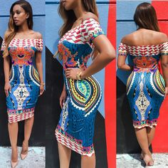 Women Sexy Off Shoulder Dress 2016 NewTraditional African Print Dashiki Bodycon Short Sleeve Dress