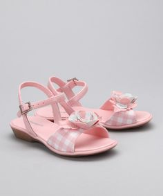 Take a look at this Pampili Pink & White Gingham Rose Sandal by Pampili on #zulily today!