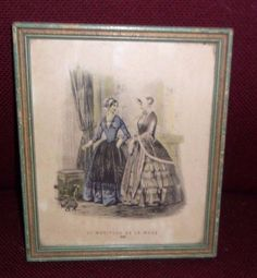 Antique Fashion Print LE MONITEUR DE LA MODE 1851 Framed by Max F. Koletzke | eBay