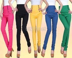 Women's Double Breasted High Waist Pants Straight Pants