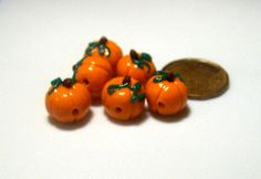 6 Pumpkin Beads by adcdmc on Etsy