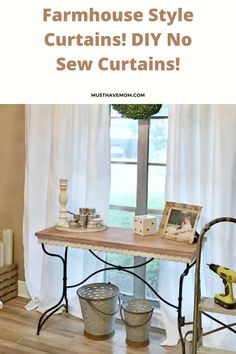 Farmhouse Style Cheap Curtains! DIY No Sew Curtains For $5!