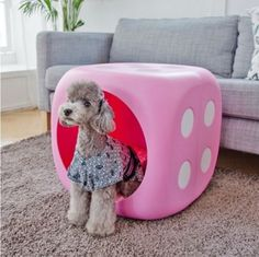 49cm-Cube-Dog-House-Dice-Box-M-Size-Pink-Furniture-Cushion-Bed-DPX-Pet-Gift