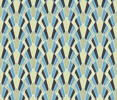 Olive and blue deco diamond fans by Su_G fabric by su_g on Spoonflower - custom fabric