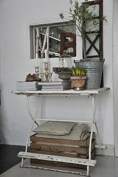 .table, crate,bucket,garden pots,charming
