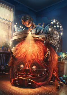 Monster under the bed, Tomas Kral Cute Monsters, Little Monsters, Fantasy Kunst, Fantasy Art, Monster Under The Bed, Creepy Pictures, Monster Art, 3d Artist, Cute Illustration