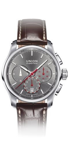 Chronograph with leather strap. Union Glashuette