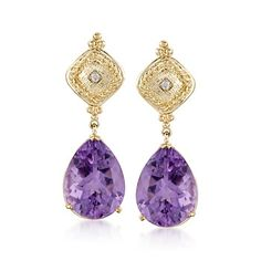 14.00 ct. t.w. Amethyst Earrings With Diamonds in 14kt Yellow Gold 300