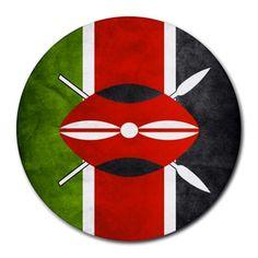 Kenya+Kenyan+Flag+Round+Mousepad