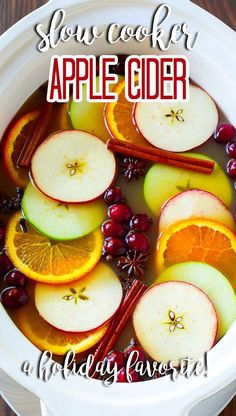 This slow cooker apple cider recipe is infused with citrus and spices and simmered to perfection. Best Slow Cooker, Slow Cooker Recipes, Apple Recipes, Fall Recipes, Drink Recipes, Basic Butter Cookies Recipe, Blueberry Crumble, Easy Delicious Recipes, Yummy Appetizers