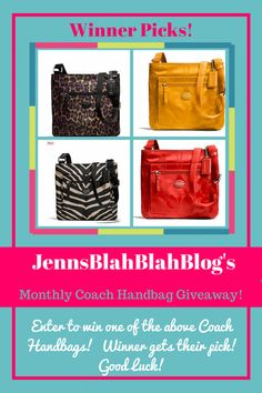 Whoo hoo! You know what time it is? Time to win a coach handbag! Welcome to the December 2015 Monthly Coach Handbag Fan Appreciation Giveaway where 1 lucky winner will get to pick a coach handbag from Jenn's awesome collection. This event is open Worldwide and will be closing on December 30th, 2015. Good luck …