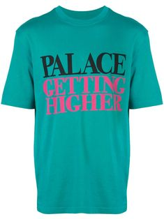 Palace Getting Higher T-shirt - Farfetch New Sign, Green Cotton, Size Clothing, Cool Kids, Palace, Shirt Designs, Women Wear, Mens Tops, T Shirt