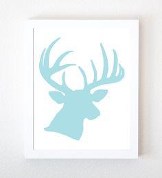 Little Boys Room Deer Head Graphic Art Print in Fresh Light Blue on White 8x10. $12.00, via Etsy.