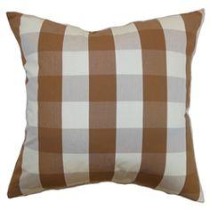 The Pillow Collection Hye Plaid Bedding Sham Orange Queen//20 x 30
