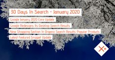 SEO & SEM News Recap January 2020 - #30DaysInSearch Online Marketing, Digital Marketing, Seo Sem, Infographic, January, News, Day, Blog, Internet Marketing