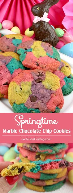 Springtime Marble Chocolate Chip Cookies - a classic cookie all dressed up in beautiful Spring colors. A delicious Easter cookie that will wow your family and friends. This unique and tasty Chocolate Chip Cookie Recipe would be a great Easter dessert idea. Pin this delicious Easter Treat for later and follow us for more great Easter Food ideas. #EasterDesserts #EasterTreats #EasterFood #SpringDesserts