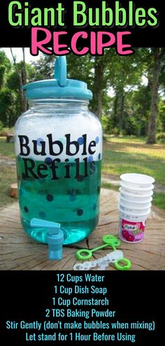 DIY bubbles mix refill recipe - how to make giant super bubbles mixture