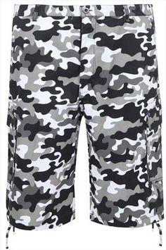 NOIZ Black & White Camo Print Cotton Cargo Shorts With Pockets