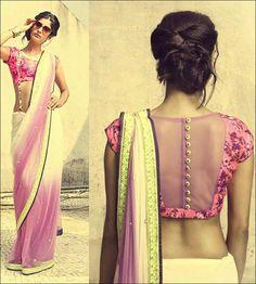 Blouse Back Neck Designs - Pretty Pink Blouse Sheer Back Neck Design