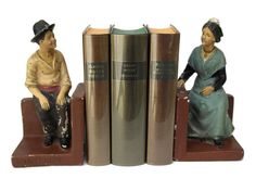 French Provencal Chalkware Bookends. Hand by LeBonheurDuJour