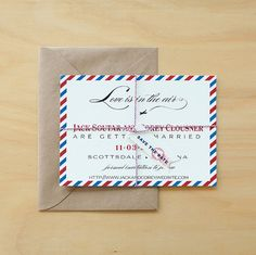 Love is in the air and you are letting everyone know with these vintage wedding invitations. Charming vintage plane flies off the calligraphy as