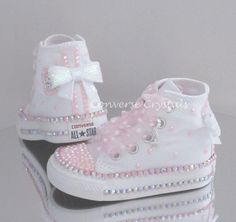 e92aaa59bc7c Baby Toddler Girls Custom Crystal Bling Converse Double