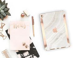 """Marble Stone with Rose Gold for the iPad Pro 10.5"""" / iPad Pro 12.9"""" Smart Keyboard compatible Hard Case - Platinum Edition"""
