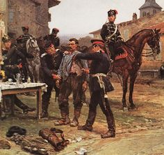 The arrest of a courier by Alphonse Neuville