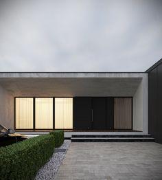 Private house on Behance Bungalow House Design, House Front Design, Modern Barn House, Modern House Design, Piscina Interior, Garage Door Design, Small Modern Home, Concrete Houses, Box Houses