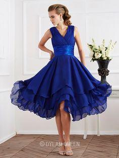 Elegant A-Line/Princess Short Sleeves V-neck Pleats Tea-Length Chiffon Dresses