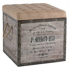 Wine crate ottoman. As seen on high low project.