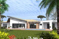Maison moderne de type 4suite parentale -2 chambres - un garageSurface Habitable: 165m² / Surface annexe: 128m² Casa Patio, Villa, Surface Habitable, Irene, Garage, House Styles, Home Decor, Blue Prints, Home Ideas