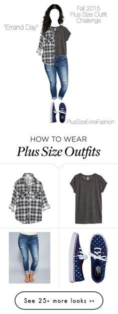 """""""Fall 2015 Plus Size Minimalist Challenge #9: Errand Day"""" by plussizeextrafashion on Polyvore featuring H&M, Wet Seal, Vans, minimalism, challenge, plussize, fall2015 and plussizeextrafashion"""