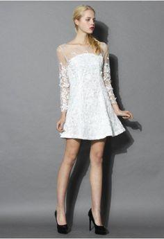 Frozen Floral Mesh Dress in White