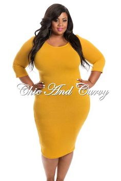 Restock Alert: Plus Size Mustard Sweater Dress at http://chicandcurvy.com/newarrivals/product/10743-new-plus-size-bodycon-with-3-4-sleeve-in-mustard-1x-2x-3x