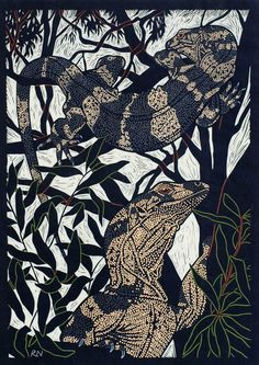LACE MONITOR 49.5 X 35 CM    EDITION OF 50 HAND COLOURED LINOCUT ON HANDMADE JAPANESE PAPER $850