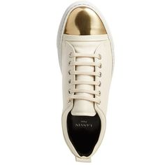 Women's Lanvin Cap Toe Sneaker (12,245 MXN) ❤ liked on Polyvore featuring shoes, sneakers, lanvin trainers, metallic shoes, cap toe shoes, metallic sneakers and toecap shoes
