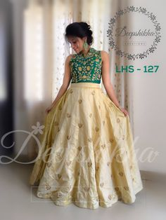 LHS - 127 For queries kindly inbox or Email - deepshikhacreations@gmail.com Whatsapp / Call - +919059683293 Indian Designer Outfits, Indian Outfits, Designer Dresses, Wedding Dresses For Girls, Girls Dresses, Lehenga Crop Top, Frocks For Girls, Indian Gowns, Lehenga Designs