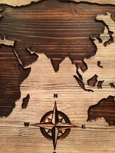 Carved wooden world map wood wall art world map home by HowdyOwl