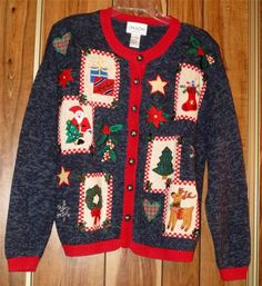 Woman's Ugly Christmas Sweater - Carly St Claire - Size Large - Santa Tree #CarlyStClaire #ButtonFront