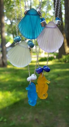 """These one.of.a.kind necklaces are perfect for summer! 16-22"""" chain. They can be worn with much longer exclusive Charm Story necklace series of mine or solo. I ship. Ingredients include. Glass nautical lovely pendants, Japanese glass beads and Greek ceramics dipped in pure silver and gold. So charming!"""