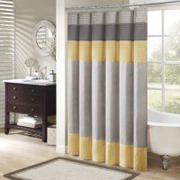 Madison Park Amherst Shower Curtain in Yellow - Olliix your bathroom with this simple, yet beautiful shower curtain. The faux silk dupioni fabric drapes beautifully and is easy to care for. The shower curtain features piecing and pi Yellow Shower Curtains, Grey Curtains, Colorful Curtains, Bathroom Shower Curtains, Fabric Shower Curtains, Curtain Fabric, Classic Showers, Yellow Bathrooms, Draped Fabric