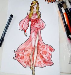 58 New Ideas For Clothes Drawing People Dress Design Sketches, Fashion Design Sketchbook, Fashion Design Portfolio, Fashion Design Drawings, Fashion Sketches, Dress Illustration, Fashion Illustration Dresses, Fashion Illustrations, Fashion Drawing Dresses