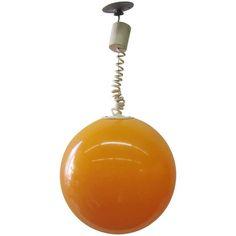 Adjustable Orange Ball Pendant Light from France | #french #lamp #pendantlight #orange #orb #interior