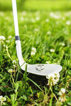 Golf themed engagement photos