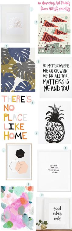 @beautifulpaper picked out some super-fun art prints from Etsy artists (that pineapple covered in hearts?!). Find out more about each one on the Oh So Beautiful Paper blog. #etsy